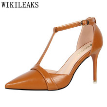 Elegant leather T-Strap high heels sandals women shoes wedding shoes italian euros bridal bigtree shoes women stiletto high heel