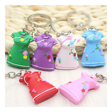 1 PC Vintage Chinese Flower Cheongsam Qipao Dress Charm Keychain Best For Women Keyring Fit For Purse Bag Pendant Accessories