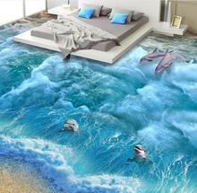 vinyl floor 3d photo wallpaper 3d flooring Ocean World wallpaper self adhesive 3d floor bedroom wallpaper adhesive vinyl rolls(China)