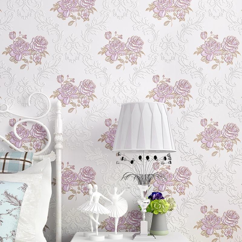 beibehang Warm and modern simple flower bedroom bedroom living room TV backdrop sofa wallpaper pastoral non - woven wallpaper<br>