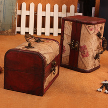 Wooden Box Postage Stamp Pattern Jewellery Storage Box Case Holder Vintage Treasure Chest Container Organizer(China)