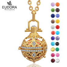 Eudora Harmony Bola Luxury Crystal Gold Color Floating Locket Charm Ball Musical Angel Caller Bijoux Chime Bell Maternity Gift(China)