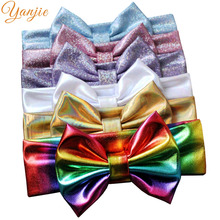 "1PC 5"" Big Glitter Metallic Messy Bow Headband Hair Bows Girls And Kids 2017 Sequins Bow Headbands Girls DIY Hair Accessories"