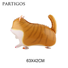 Wholesale 10pcs cat balloons pet toy with legs inflatable helium walking cat balloon for animal party decoration party supplies(China)