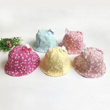 2017 Print Cotton Baby Summer Hat With Bow Kids Girl Summer Cap Double Sides Can Wear for 2-3 Years 1 PC