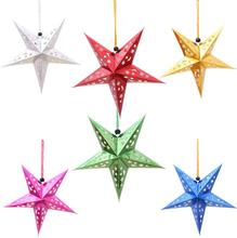 Free Shipping 3D Colorful christmas stars pendant christmas hanging ornament home shop market christmas decorations(China)