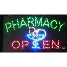 2017 Pharmacy neon signs hot sale led screen display 15.5x27.5 inch indoor cartel luminoso pharmacy flashing led open sign board(China)