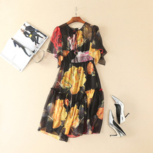 Print Dress Summer Korea New Princess Topshop Short Flare Sleeve 2017 Fashion Mini Vintage Elegant Women Dress