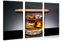 Liquor Series 5 piece Home Decor Wall Art Glass of Whiskey with a Cigar on Wooden Table Paintings