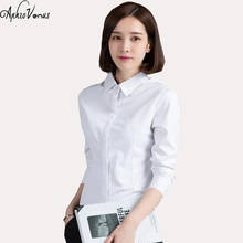 2017 new arrival fashion women blouse female classic white turn-down blusa hot sales simple causual lady office wear clothes(China)