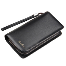 Baellerry brand Luxury Long Men's leather wallet with strap large capacity Man clutch money bag with coin pocket for male