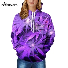 Raisevern New Harajuku 3D Hoodie 3D Purple Weed Leaf Print Sweatshirt Fashion Hooded Sweatsuits Tops S-XXL Dropship