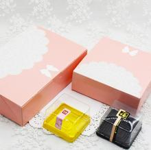 Pink Bowknot lace cookie biscuit mooncake packaging box Egg-Yolk Puff pastry carton boxes cake baking box gift wrapping