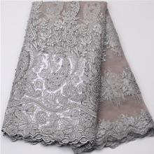 High Quality Imported Wholesale 100%Polyester African Grey Tulle Lace French Net Beads Lace Fabric For Wedding MR539B-2(China)