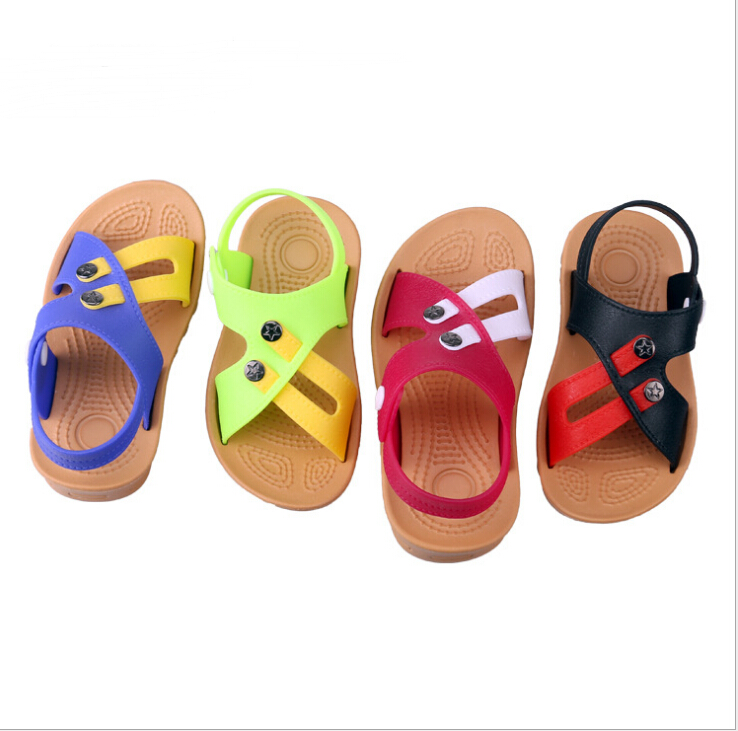 2017 summer children's slippers beach boy buttons baby Korean children outdoor sandals and slippers(China (Mainland))