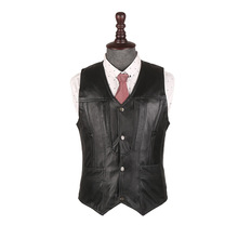SHOWERSMILE Brand Mens Vests Spring Autumn Genuine Leather Waistcoat Stylish Designer Sleeveless Jacket Mens Clothing(China)