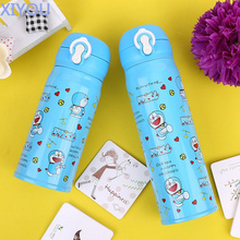 XIYOU 500ml Cute Vacuum Doraemon Thermos Bottle Stainless Steel Thermal Cups For Water Light Children Kitty Cat Thermocup gifts