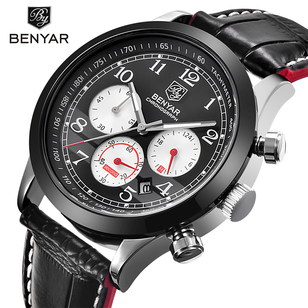 BENYAR Men Sport Watches Top Brand Luxury Leather Quartz Chronograph Men Waterproof Watch With 3 Dials Male Wrist Watch Clock <br>