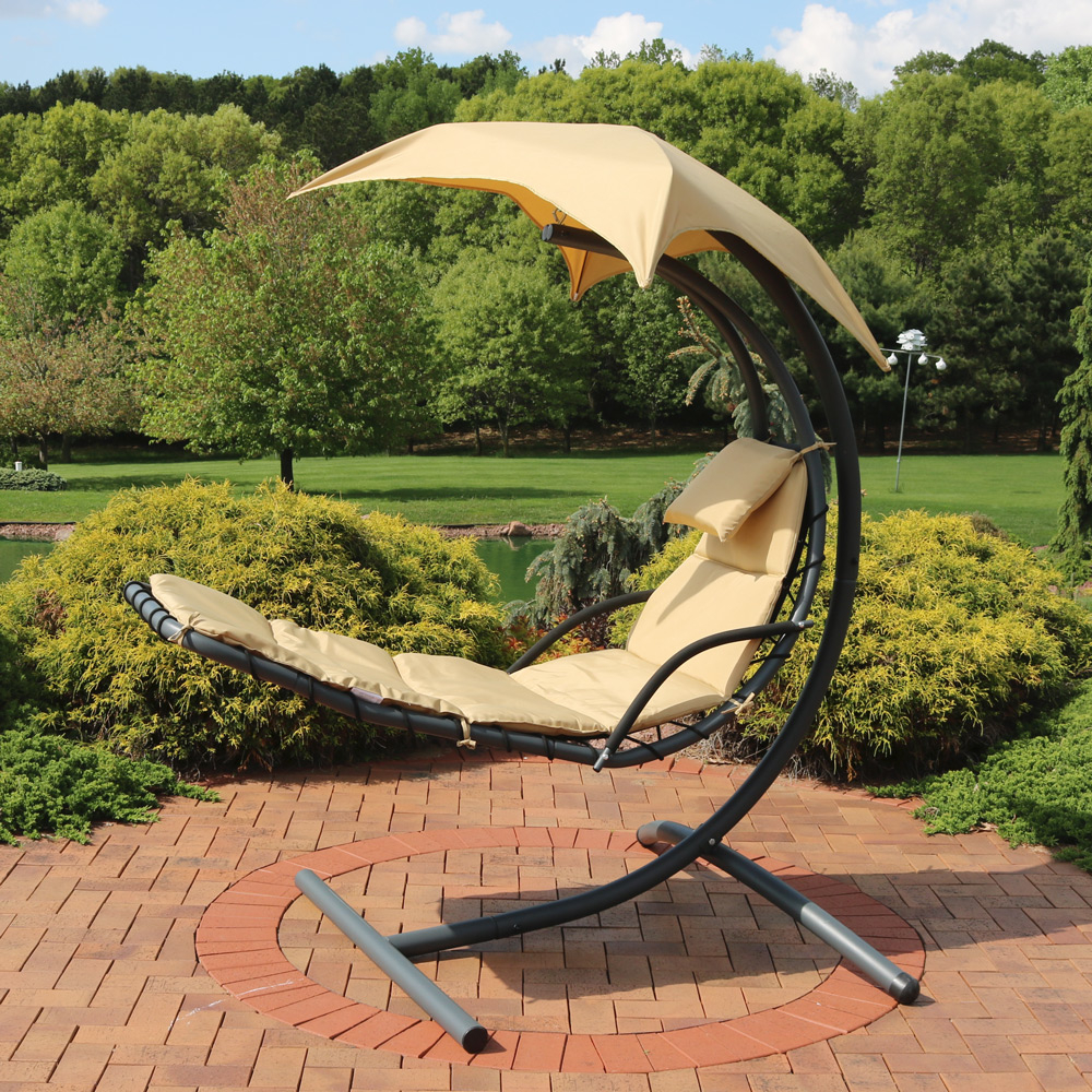 Sunnydaze Floating Chaise Lounger Swing Chair with Canopy, 79 Inch Long, 260 Pound Capacity (3)