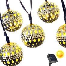 30LED Solar Gold Moroccan LED Globe Fairy String Lights,Curtain Light for Outdoor,Gardens,Homes,Christmas Party (Warm White)(China)