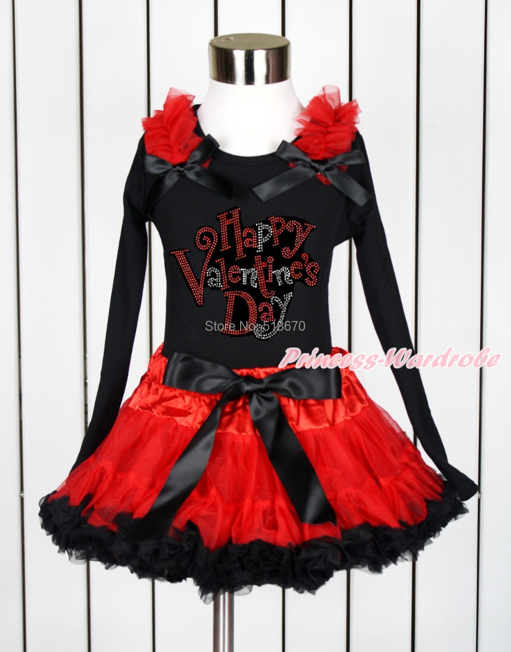 Rhinestone Happy Valentines Day Black Pettitop Red Black Pettiskirt Set 1-8Year MAPSA0110<br>