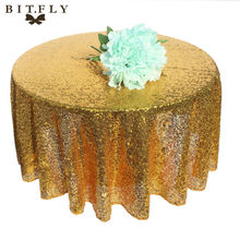 48 inch Round Sequin Table Cloth Rose gold Champagne Silver gold Wedding Beautiful Sequin Table Cloth / Overlay /Cover diy decor(China)