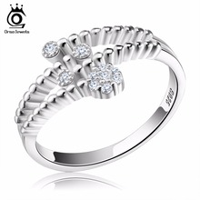 ORSA JEWELS 925 Sterling Silver Jewelry 2017 New Fashion Wedding&Engagement Rings Adjustable Rings for Girl Friend SR03