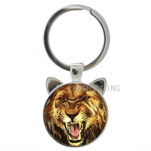 Cool Howling Lion keyring vintage wild animals fierce lion key chain ring holder for car bag fashion men keychain jewelry CN651