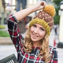 Sedancasesa 2019 nueva moda mujer caliente sombreros estilo coreano sombreros  de invierno de punto de mantener f5685bc012d