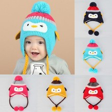 Hot Baby Cute Baby Toddler Girls Boys Penguin Fur Ball Knitted Winter Warm Hat Warm  Cap lowest  price
