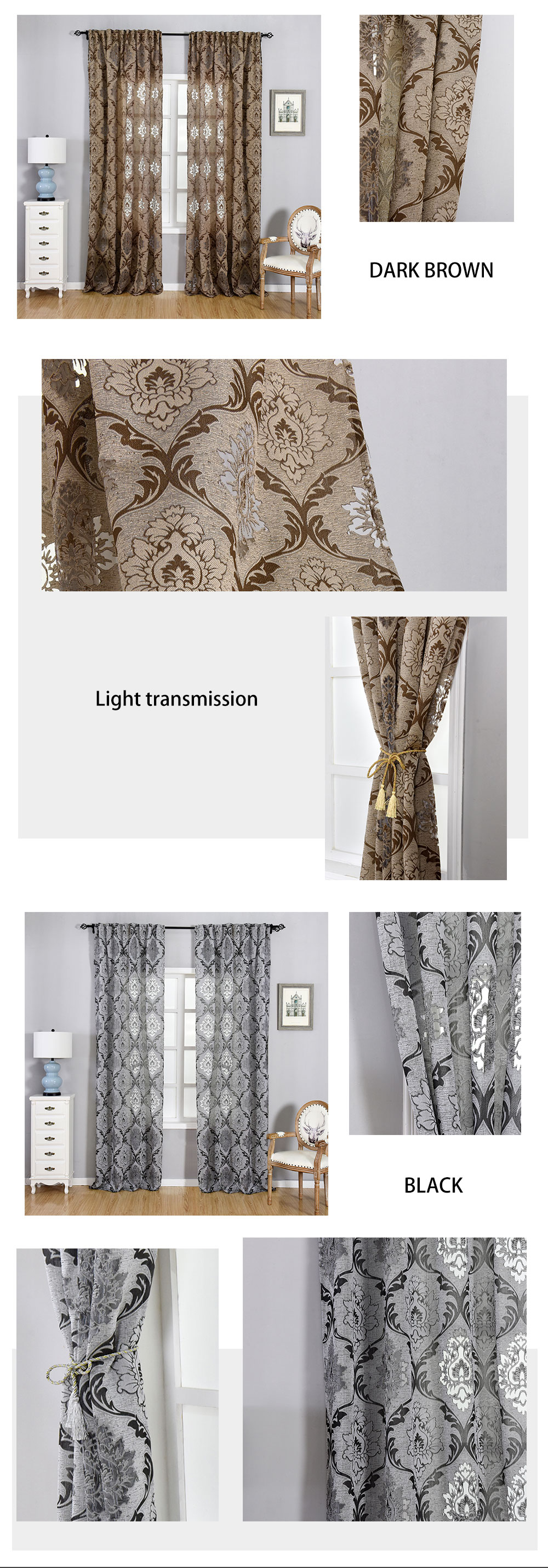1 NAPEARL Window Panel Screening Floral Jacquard Semi-shades Curtains Free Shipping Brown for Bedroom Natural Ready Made Fabrics (2)