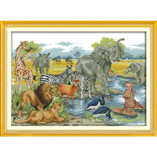 Home Decoration Needlework Counted Cross Stitch Set Embroidery Cross Kit 11CT 14CT Animal World Pattern Cross-Stitching WR230