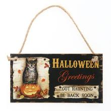 Halloween Greetings OUT HAUNTING BE BACK SOON Wooden Rectangle Hanging Wall Sign Board Party Decoration