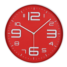 Simple Design Wall Clock Home Bedroom Cafe Decoration Clock - Red + White