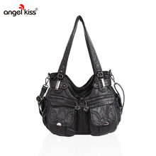 Angelkiss Brand PU Washed Handbags Women Shoulder Bags Hobos Handbag For Woman High Quality Messenger Bags Women Leather Handbag(China)
