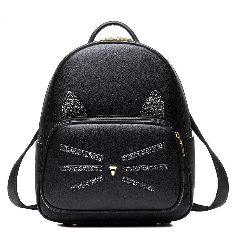 Catt Backpack Black Preppy Style School Backpacks Funny Quality Pu Leather Fashion Women Shoulder Bag Travel Back Pack Sac A Dos<br>