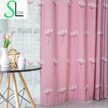 Slow Soul Dandelion Blue Pink Embroidered Floral Curtains For Living Room Kitchen Bedroom And Tulle Sheer Baby Sheers Children(China)