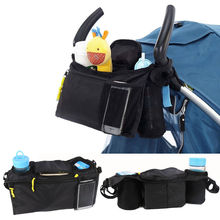 Black Nappy Bags Baby trolley hanging bag hook bag umbrella Water cup and toys bag YYT324(China)