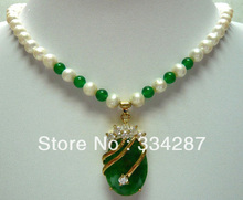 Noble White 7-8 Genuine Pearl Green jades pendant women Jewelry Necklace 18inches