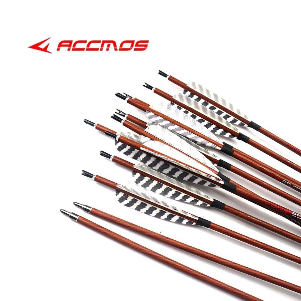 "D/&Q 12X Recurve Arrows Target 550 Fiberglass 31/"" Compound Fixed Tips Beginner"