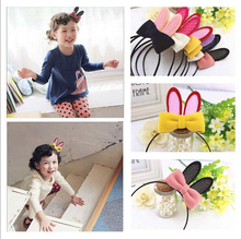 Wholesale fashion lovely hairband with bunny ears bowknot hand making felt hair accessory 2015 hot design  10pcs/lot