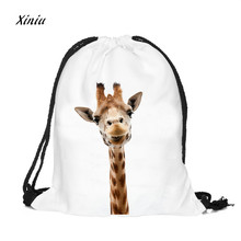2018 New Cute Women Unisex Backpacks Cute 3D Giraffe Printing Bags Drawstring Backpack Girls Lovely Storage Bag Traval Backpack(China)