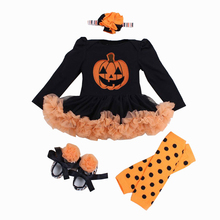 Newborn Baby Girl Clothes Halloween Baby 4Pcs Set Clothing Tutu Romper Roupas De Bebe Menina Infant 0-2T Newborn Baby Outfit Set