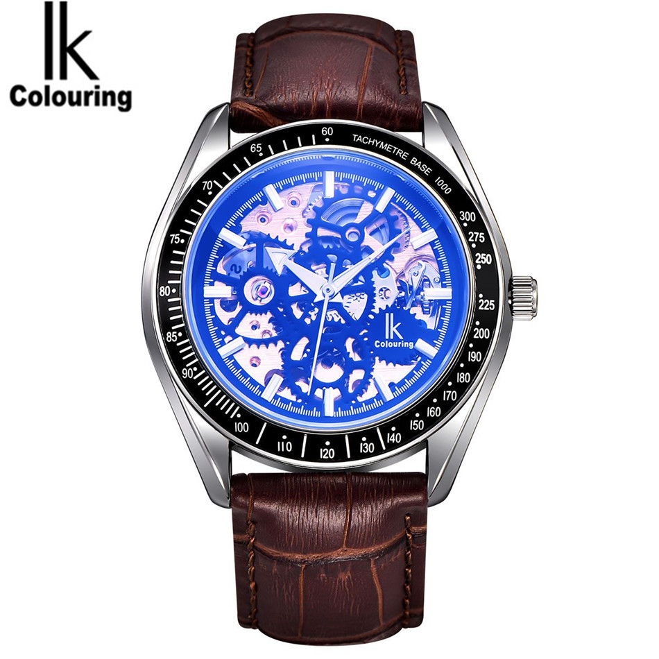 New 2017 Relogio Masculino Luxury IK Coloring Mens Casual Skeleton Automatic Mechanical Watch Orignial Box Free Ship<br>