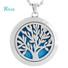 Rivca Aromatherapy Necklace Tree of Life Pattern Plating Silver Gold Floating locket Oils Essential Diffuser Necklace Moo116