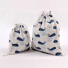 1pcs Blue Whale Drawstring Cotton Linen Storage Bag Gift Candy Tea Jewelry Organizer Makeup Cosmetic Coins keys Bags 49058