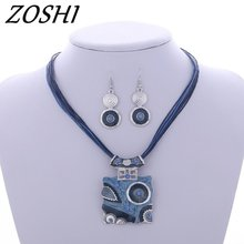 ZOSHI Fashion Boho Jewelry Set Leather Geometry Square Pendant Necklaces Drop Earrings Jewelry Set Factory Wholesale Price