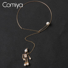 Comiya Acrylic Pearls Figure Link Chokers Zinc Alloy Gold Color Pendant Necklace For Women Online Shopping Indian Jewelry CC(China)