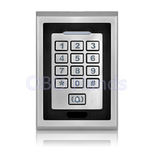 Free shipping silver metal access control keypad waterproof smart card reader for rfid door access control system digital lock