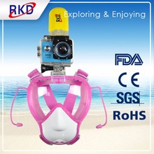 Hot RKD Kids Snorkel Mask Anti Fog Full Face Snorkeling dry Diving Mask For Gopro Camera Easy Free breat with Anti-skid Ring(China)